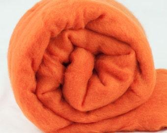 Carded Fiber Batt - Merino Wool 23micron - Pumpkin - 7 oz