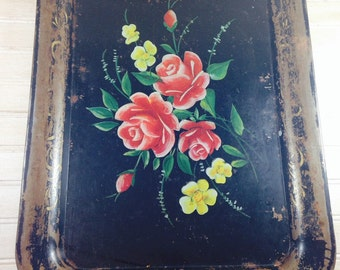 Vintage Shabby Chic Black Metal Painted Tray