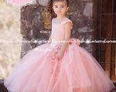Divine Peach Exquisite Tulle Skirt Flower Girl Dress ,First Communion Dresses,Toddler Dresses,Kids Dresses