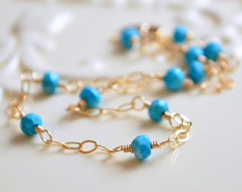 Real Turquoise Anklet, Gold Filled Ankle Bracelet, Genuine Gemstone, Dark Aqua Blue, Wire Wrapped, Summer Jewelry, Free Shipping