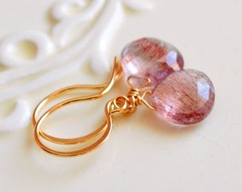 Moss Amethyst Jewelry, Gold Drop Earrings, Wire Wrapped, Simple and Elegant, Red Semiprecious Gemstone, Free Shipping