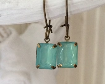 Vintage Crystal Earrings AQUA