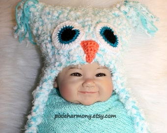 Baby OWL Hat - Boy Girl - Photo Prop - Reborn Doll Hat - AG Doll Hat