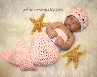 Baby Mermaid or Merman Cocoon and CROWN - ANY colors - Newborn Photo Prop - Reborn Doll costume - Made to Order