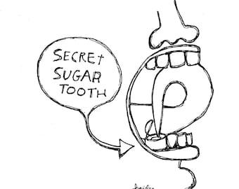 Sweet tooth sugar tooth diabetes art original illustration cartoon medical humor