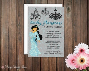 Bridal Shower Invitation - Jasmine Princess Silhouette with Chandeliers and Damask - Aladdin