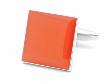 Burnt Orange Square Plain Cufflinks