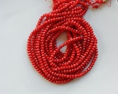 2x4mm Red bamboo coral faceted rondelles ) , Full stramd