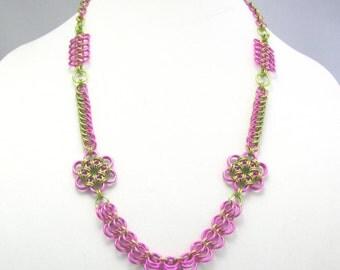 Aster Garden Chainmaille Statement Necklace
