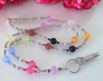 Colorful Acrylic and Crystal lanyard