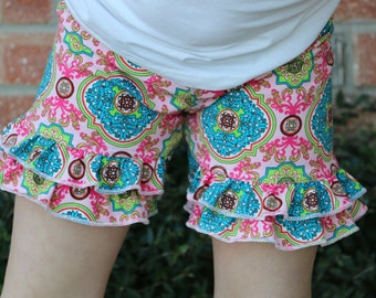 pink paisley print ruffle shorts shorties bloomers sizes 12m - 14 girls