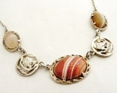 Antique sterling silver Alexander Ritchie Scottish necklace with banded carnelian agate