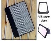 personalized HARD case - ipad case/ kindle case/ nook case / others - full zipper close - black white plaid
