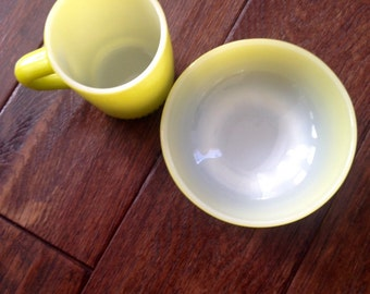 Vintage Fire King Gradient Ombre Green Bowl and Mug Set