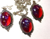 Mexican Opal Cabochon Necklace and Earrings