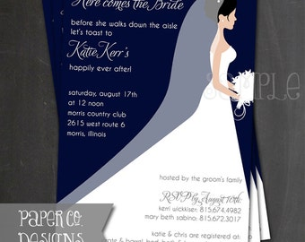 Printable Navy Blue Bridal Shower Invite - Digital File ONLY