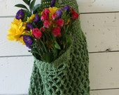 Farmers Market Bag - Reusable Cotton Grocery Tote - Sage Green