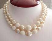 Faux Pearl Necklace White Cream Double Strand Japan J Hook Closure Adjustable Graduated Vintage 101913SB