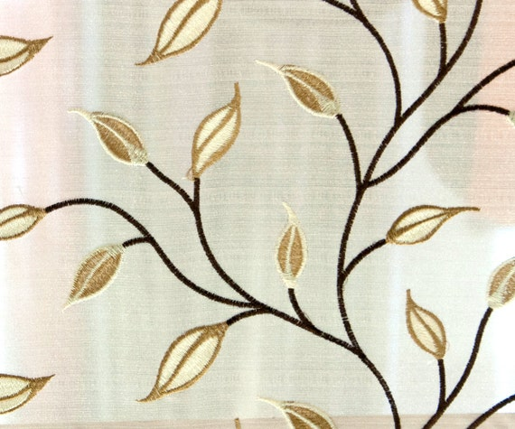 Gold Rust Leaves Embroidery Sheer 124 cm Curtain Fabric By the Yard ...