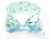 Fabric Bow Headwrap - Metallic Gold Birds in Aqua - Infant Headband - Fabric Headband - Baby Headband - Toddler Headband Gold Metallic