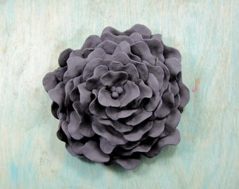 Clover Flower 6 inches Black Pottery Wall Hanging