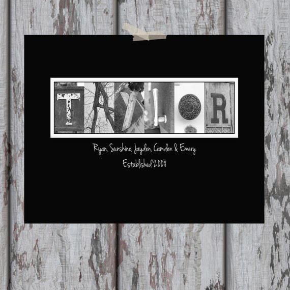 "Custom Personalized Last Name Letter Art Print - 11 x 14"" Print - Custom Home Decor / Wedding / Anniversary / House Warming / Birthday Gift"