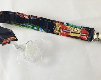 Pacifier Clip Paci Clip Holder Binky Holder - Race Cars - Ready to Ship