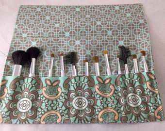 MakeUp Brush Holder Makeup Brush Roll Makeup Brush Organizer Makeup Brush Case Makeup Brush Bag Art Gallery Drift Aquatic Lace in Bronze