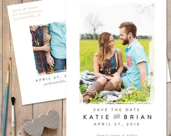 Save The Dates, Save The Date Postcard, Custom Save The Date, Save the date magnet, rustic, unique save the date - Painted