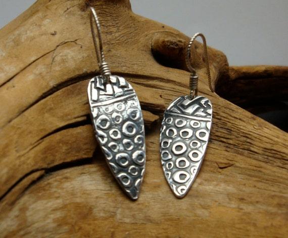 Fine Silver Earrings - PMC Earrings - Silver Textured Dangles - Raindrop Earrings