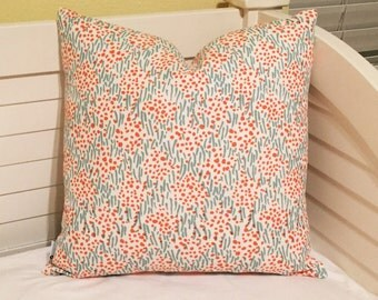 Quadrille China Seas Trilby in Aqua, Turquoise and Orange Designer Pillow Cover, 18x18
