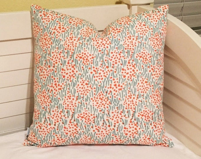 Quadrille China Seas Trilby in Aqua, Turquoise and Orange Designer Pillow Cover, 18x18