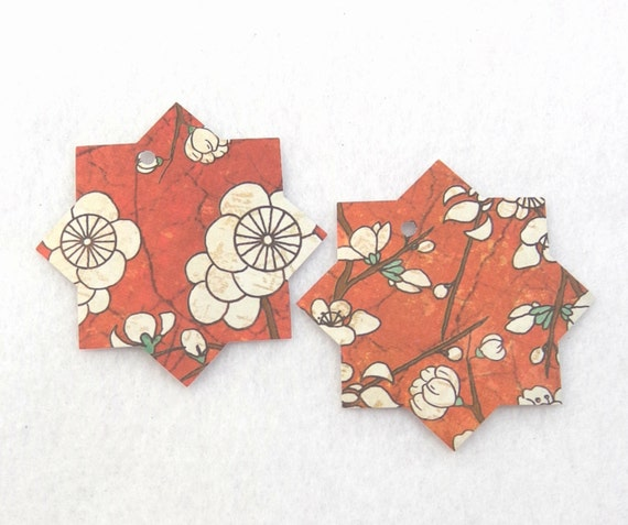 18 red asian inspired floral print gift tags 18 by for Japanese inspired gifts