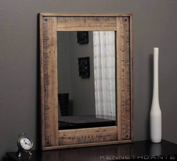 Wood Mirror Bathroom Weathered Distressed Natural by