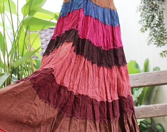 ARIEL on Earth - Boho Gypsy Long Tiered Ruffle Patchwork Cotton Skirt - BD1504