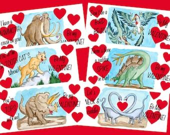 Set of 12 Vintage-Inspired Dinosaur Valentine Cards
