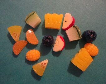 Kawaii fruits slices cabochons decoden deco diy charms  14 pcs--USA seller