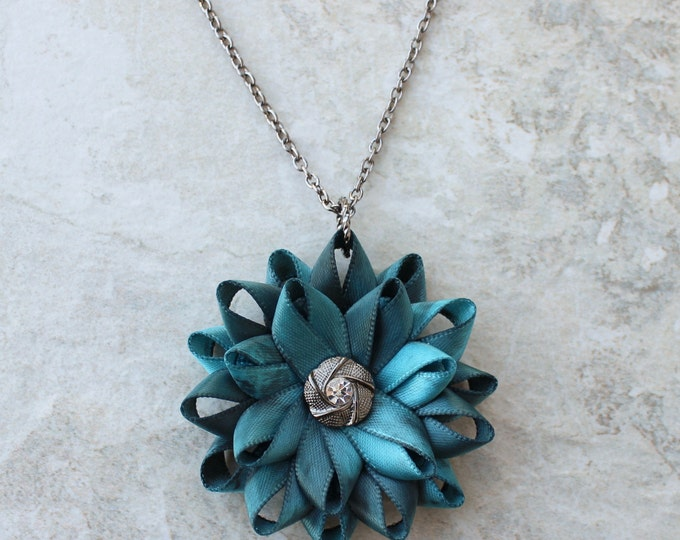 Flower Pendant Necklace, Teal Necklace, Teal Flower Necklace, Teal Blue Necklace, Black and Teal Jewelry, Gunmetal Necklace, Dark Turquoise