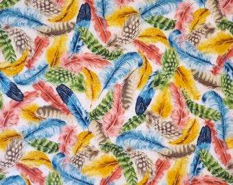 REMNANT--Colorful Allover Feather Print Pure Cotton Fabric--1/2  Yard