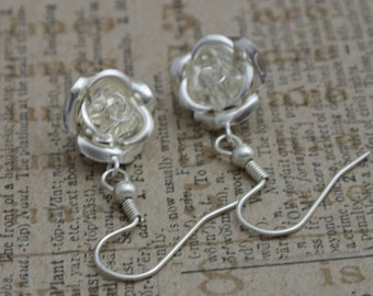 Silver plated rose earrings