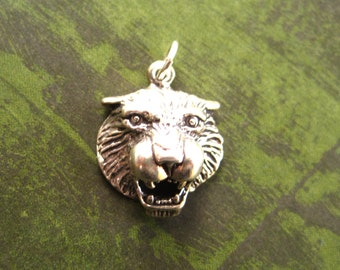 Sterling Silver Roaring Tiger Head Pendant Charm