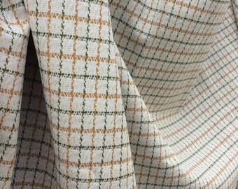 Plaid Tweed Vintage Fabric (3/4 yard) - retro orange and green plaid leisure suit material