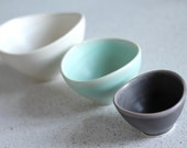 Mini Nesting Bowls - White, sea foam, charcoal  - set of 3 - Pottery Bowls - Stacking  prep bowls