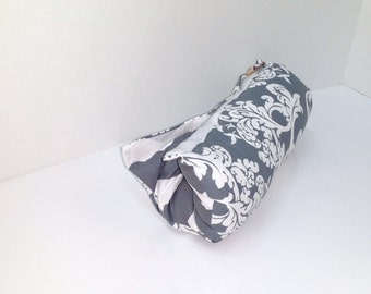 Infant Car Seat ARM PAD, Handle Cover Wrap, Reversible -  Gray and White Damask and Chevron