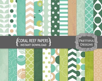 Teal Pink and Green Digital Pattern Backgrounds - Coral Reef