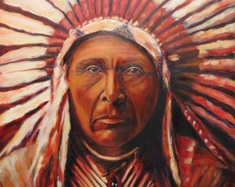 Native American Indian oil painting art portrait wall art