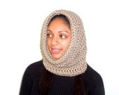 Crochet, Cowl, Women, Men, Hooded Scarf, Eternity Scarf, Taupe, Unisex, Circle Scarf