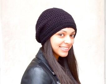 Crochet Slouchy Hat, Tam Hat, Black, Adult, Crochet, Women, Teen