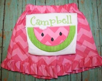 GIrls pink tonal chevron ruffled watermelon tee and matching short set by Gigi Babies, monogram