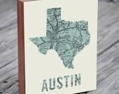 Austin - Austin Art - Texas Art - Austin Map - Austin Map Art- Wood Block Wall Art Print